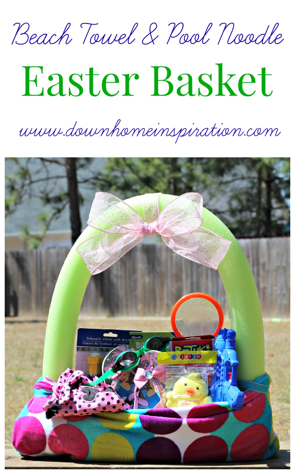 Make A Fun Easter Basket Using A Beach Towel And Pool Noodle  Down Home  Inspiration