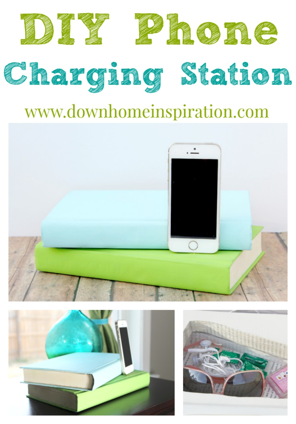 DIY Phone Charging Station Disguised as Books - Down Home ...