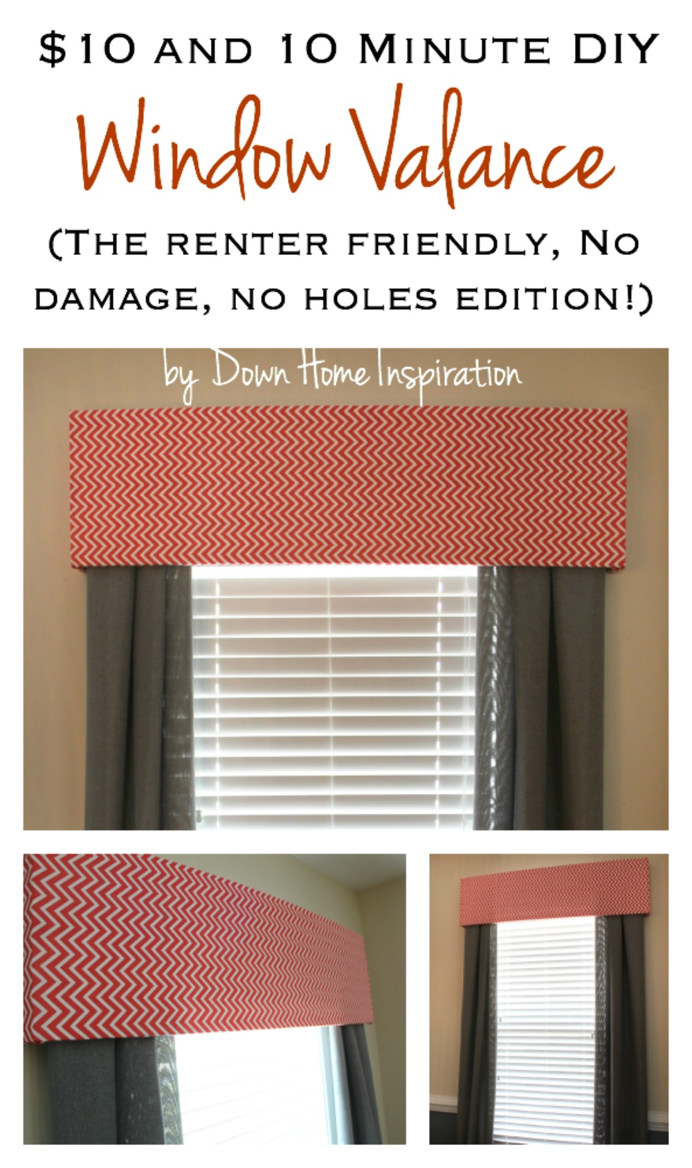 Renter Friendly No Holes No Damage 10 And 10 Minute Diy Window Valance Down Home Inspiration