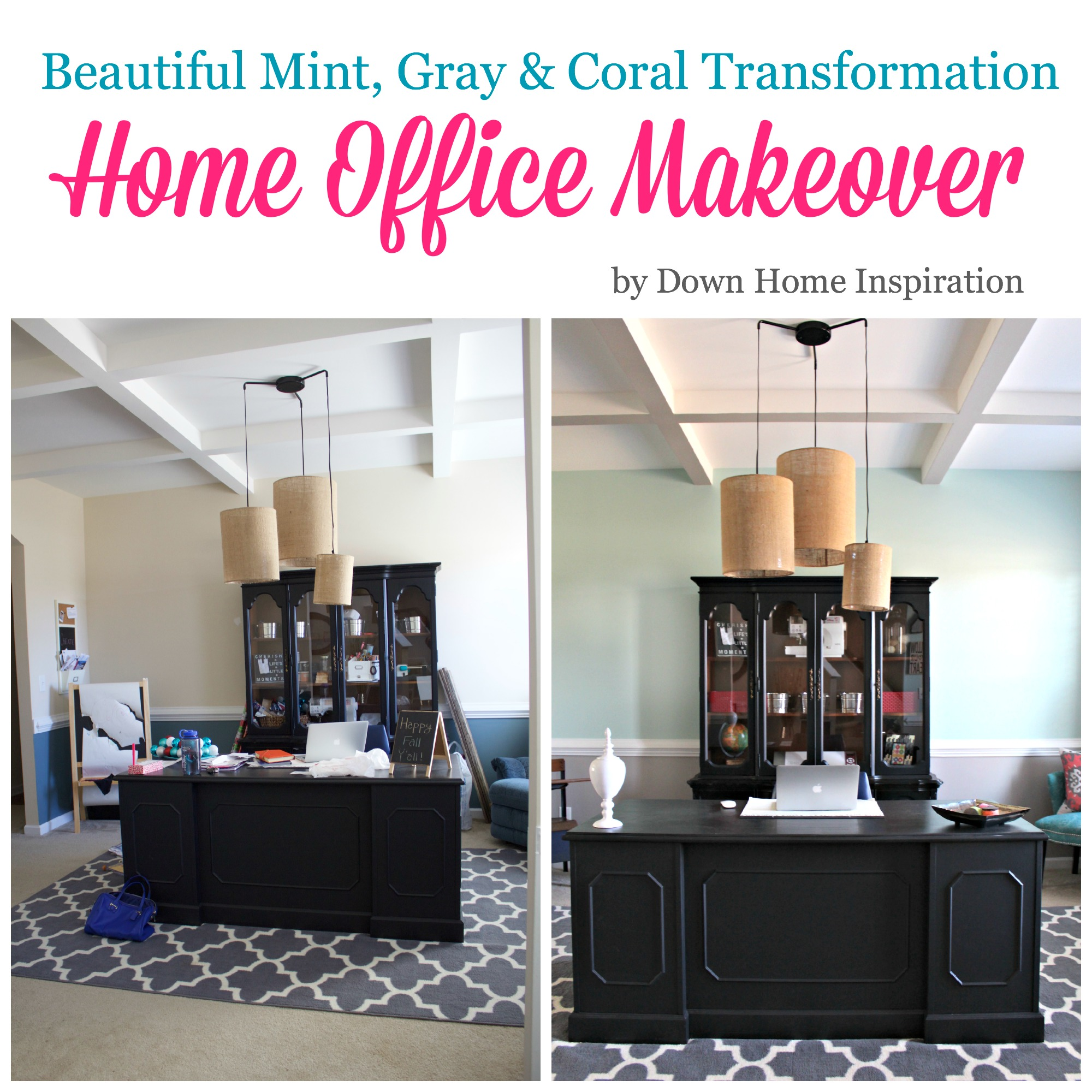 home office makeovers. Home Office Makeover...Beautiful Mint, Gray \u0026 Coral Transformation - Down Inspiration Makeovers